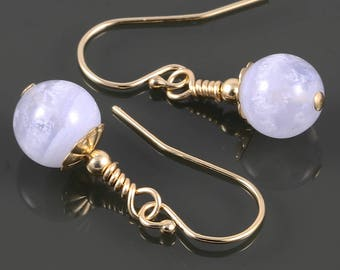 Blue Lace Agate Earrings. Gold Filled Ear Wires. Genuine Gemstones. Small Drop Earrings. f17e067