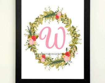 Letter W Printable, 8x10 Instant Download, Baby Girl Nursery Art, Nursery Decor, Floral Monogram, Letter Art, Baby Gift, Baby Shower Gift