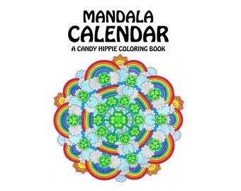 Mandala Calendar Coloring Book - printable multi-year adult coloring calendar for adults and big kids - 2018 calendar