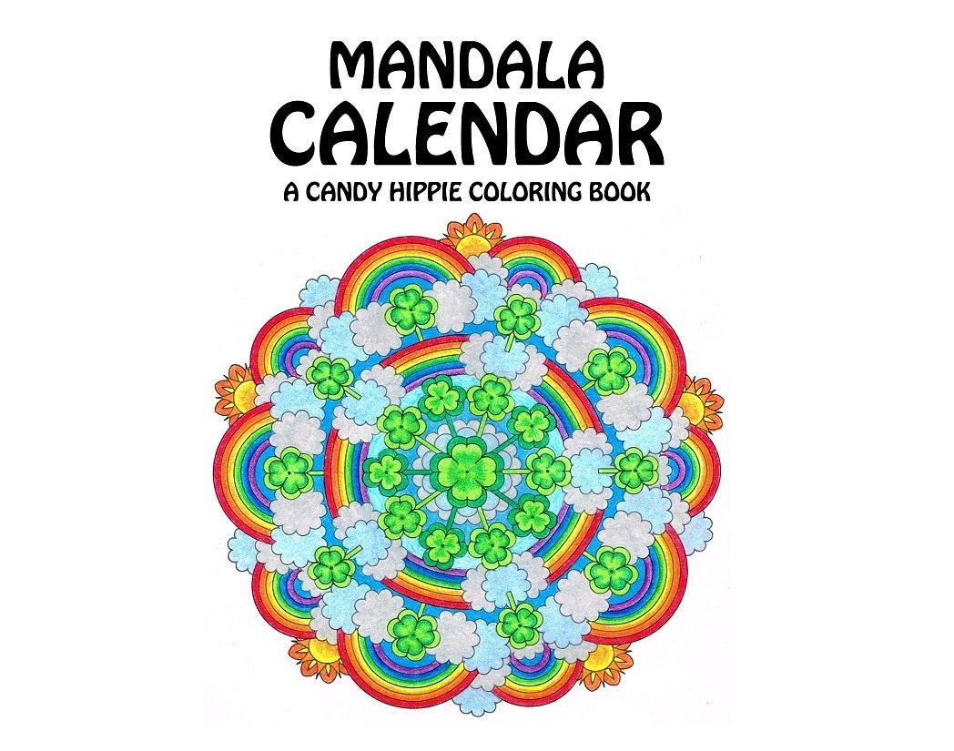 Mandala Calendar Coloring Book printable multi-year adult