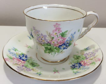 Vintage Royal Stafford Purple Pink Blue Bouquet Tea Cup and Saucer Bone China