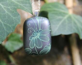 Steel grey glass pendant, fused glass pendant, flower pendant, grey glass, gray glass, flower pendant, flower necklace, glass jewellery