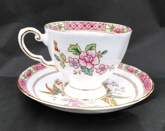 Royal Bird of Paradise Pink - Vintage Teacup & Saucer by Tuscan