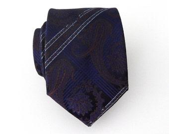Mens Tie Dark Blue and Brown Paisley Necktie
