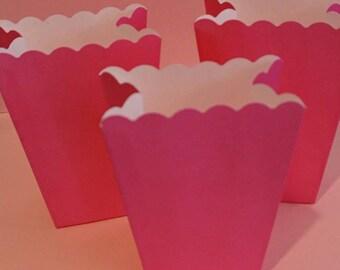 8 Pink Popcorn Boxes