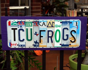 TCU FROGS license plate sign