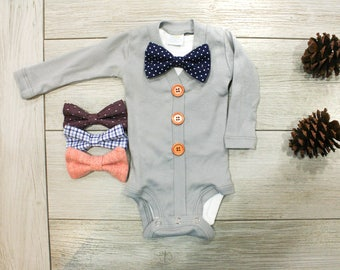 Newborn boy coming home outfit. Hospital Outfit for Baby Boy. Gray Baby cardigan bow tie. Baby bowties.