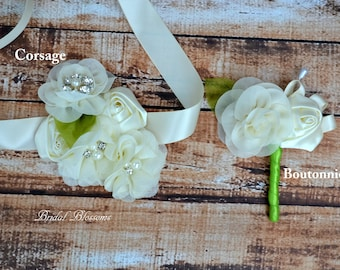 Ivory Chiffon Satin Flower Wrist Corsage | Vintage Inspired Wedding | Mother of the Bride | Bridal Shower | Easter | Boutonniere Cream Green