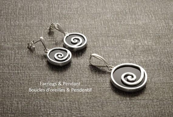 Swirl - Black Onyx Set - Pendant and Earrings - Matching set -  Sterling Silver Jewelry - 925 - Black Set - Design Jewelry - Black - Spiral.