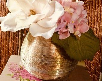 Magnolia and Hydrangea in Vase/ Pink Hydrangea/White Magnolia/Wedding Centerpiece/Wedding Buffet/Glam/Mother's Day