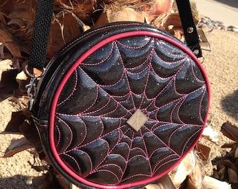 Round Glitter Retro Handbag • Sparkle Spider Web Vinyl Bag • Metal Flake Rockabilly Purse • Psychobilly • Circle • Made in USA