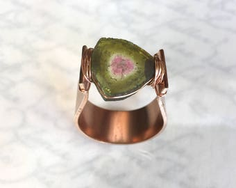 Watermelon Tourmaline Ring, Tourmaline Slice Ring - Rose Gold Filled