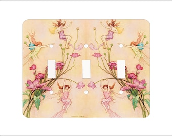 Metal Fairytale Triple Toggle Light Switch Cover - Warwick Fairies - 3T 3 toggle Deco