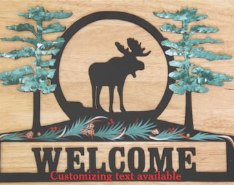 Moose Sign - Metal - Welcome - Personalized -Folkart Painting