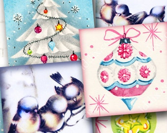 Retro Mod Christmas digital collage sheet 1 x 1 inch squares -- piddix no. 825