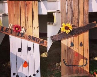 Reversible Scarecrow/Snowman Pallet Craft