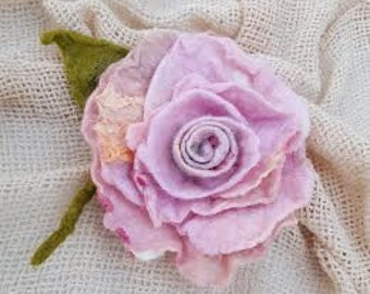 Light pink felted flower Rose pin brooch