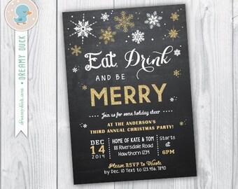 christmas invitation / holiday invitation / christmas party invitation / christmas invite / eat drink and be merry invitation