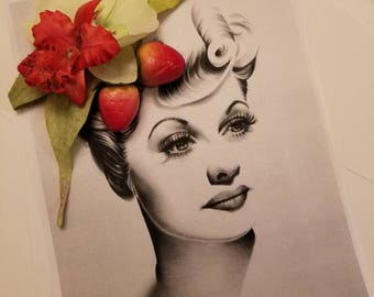Red Orchids with Strawberrys Hair Flower Wedding Hair Accessories Pin Up Rockabilly