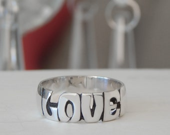 Love Ring - Sterling Silver - 7mm Band - Jewelry - Rings - Personalized - Name Ring - Gifts - Anniversary - Valentine's Day - Wedding