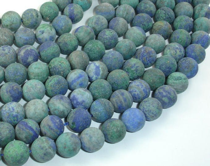 Matte Azurite Malachite Beads, 10mm(10.3mm) Round Beads, 15 Inch, Full strand, Approx 38 beads, Hole 1mm (129054011)