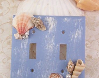 Seashell Double Switch Plate Cover, Distress Painted Seashell Switchplates, Seashell Decor Beach Livingroom Bathroom Bedroom Wall Home Decor