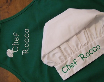 Personalized or Monogrammed Kid's White Chef Hat & 15x20 Child Apron-16 apron colors-Chef Cook Baker