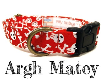 "Skull Dog Collar - Pirate Dog Collar - Boy Dog Collar - Antique Metal Hardware - ""Argh Matey"""