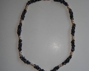 """24"""" Twisted 3-Strand Faux Stone Chips White Gray Necklace"""