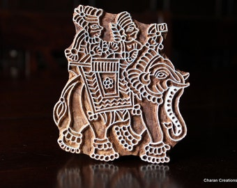Indian Hand Carved Wood Block Stamp- Large Elephant with Riders