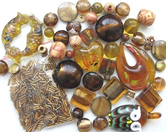 46 Pcs Mixed Golden Brown Beads | Murano Style Glass | Lampwork Style Glass | Glass Beads | Brown Pendant | Owl Pendant | Beads for Jewelry