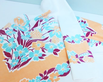 Vintage Floral Tablecloth in Aqua, Peach, Purple and White with Irises, Lily of the Valley and Other Pretty Flowers