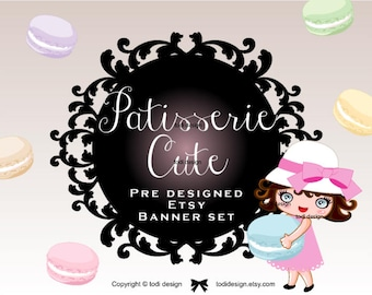 Patisserie Cute - PreDesigned Etsy Shop SET with cover photo design