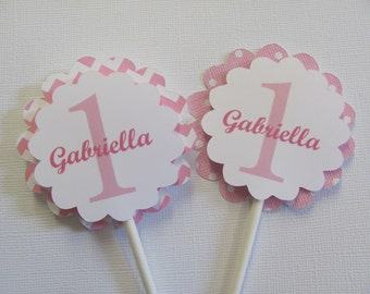 Cupcake Toppers, Set of 12, Personalized cupcake toppers, Pink and white polka dot and chevron