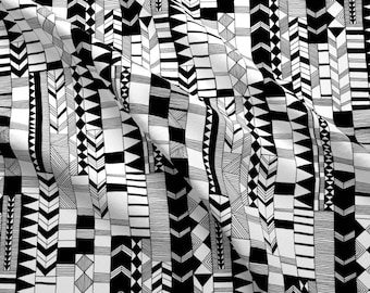 Hand Drawn Chevron in Black and White designed by Kimsa - printed on a variety of cotton fabrics by Spoonflower - by the yard