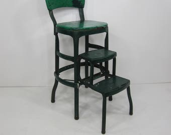 Green And Chrome Mid Century Cosco Stool W/ Padded Seats, Back Rest And