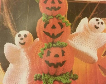 MTO Stuffed Halloween Pumpkin and Ghosts Totem Pole Table decoration