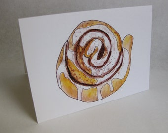 Father's Day Card - Cinnamon Roll / Sweet Roll / Sticky Bun - Handmade and printed from original ink and gouache illustration