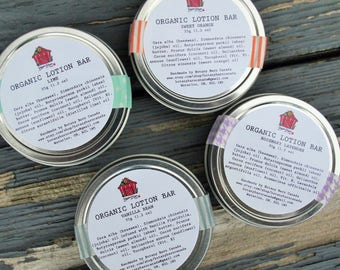 Organic Lotion Bar - Solid Lotion, All-Natural Handmade Lotion Bar, Choose from Five Scents, Made with Organic Oils and Butters