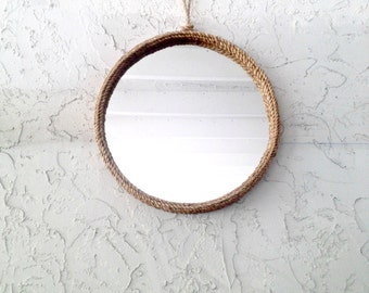 Manila rope mirror cottage chic beach chic coastal decor- nautical mirror -rustic mirror