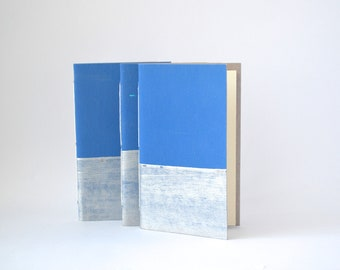 Lake Blue and Silver Hand Bound Notebook, Hand Painted Blue Journal, Quick Notes Journal