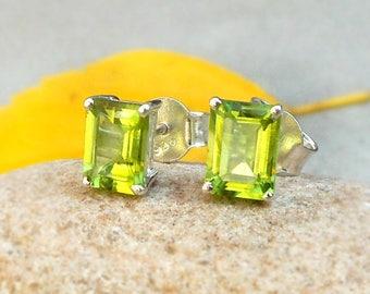 Peridot Gemstone Stud Earring Silver Post Studs Peridot Jewelry 925 Solid Sterling Silver Peridot Stud Earring August Birthstone Gifts