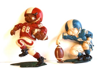 Vintage 1976 Football Player Cast Iron Wall Plates by Homco USA