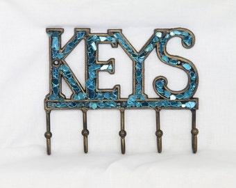 Metal Keys Hook. Recycled Repurposed Teal Glass. Keys Sign. Home Decor. Housewarming Gift. Upcycled Wall Art. Beautifully Broken Decor.