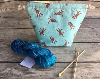 Funky Sock Monkey - Project Bag -- Drawstring Knitting Bag -- Yarn Bag -- Crochet Bag