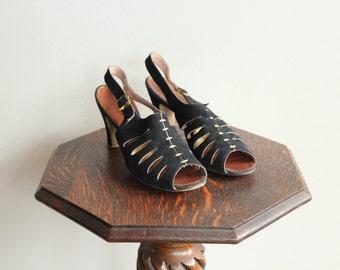 1930s Heels // Marshall Fields Co Peep Toe Heels // vintage 30s shoes