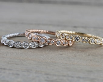 14k Rose Gold Round Cut Diamond Rope Twined Vine Pave Stackable Stacking Promise Ring Anniversary Band