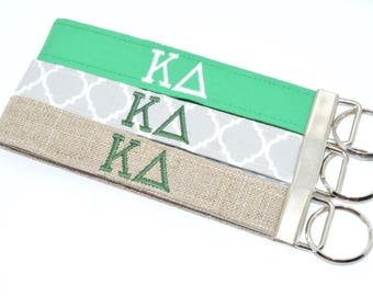 Officially Licensed Kappa Delta Sorority Keychain Key Chain Fob Wristlet Greek Life Personalized Embroidered