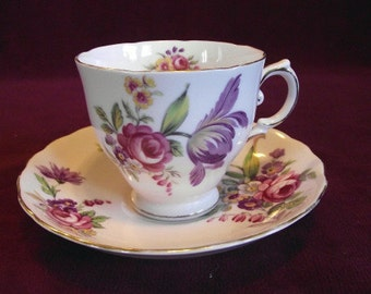 Tuscan Cup and Saucer, Montrose pattern, Vintage PM562 on SALE NOW