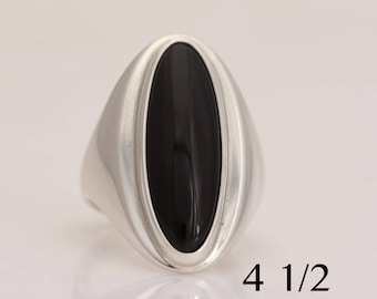 Hand fabricated silver and onyx ring, size 4 1/2, #827.